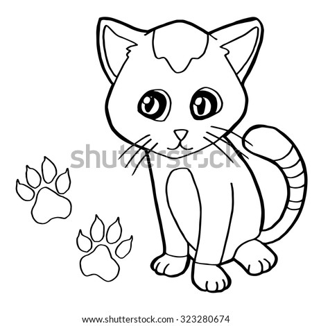 Paw Print With Cat Coloring Page Vector