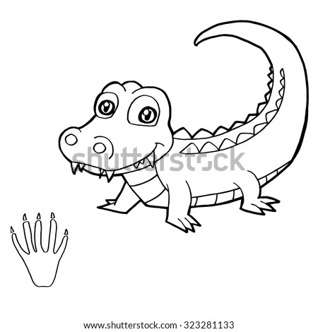 Paw Print Crocodile Coloring Page Vector Stock Vector 323281133