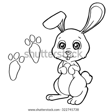 paw print with Rabbit Coloring Pages vector - stock vector