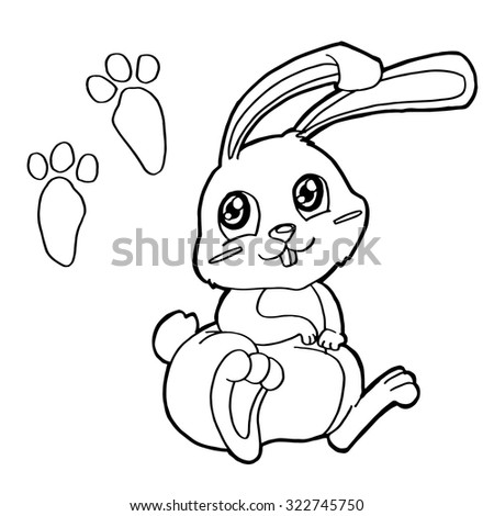 paw print with Rabbits Coloring Pages vector  - stock vector