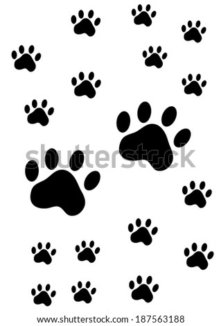 paw prints of an animal on white background - stock vector