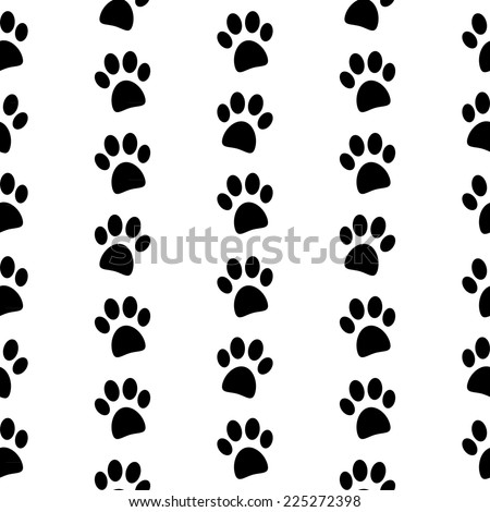 Paw symbol seamless pattern on white background. Vector illustration.