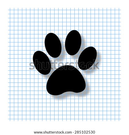paw - vector icon with shadow - stock vector