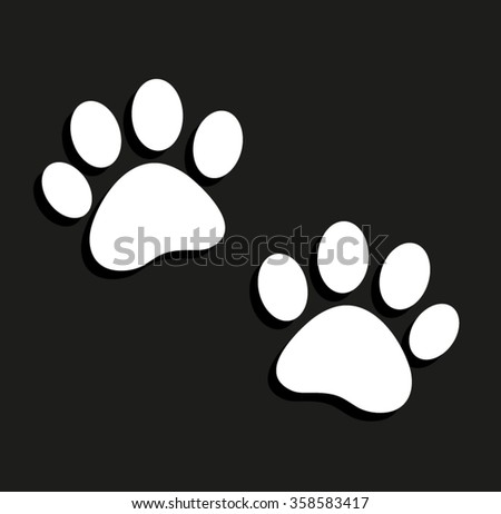 paw -  vector icon with shadow