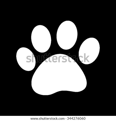 paw - white vector icon