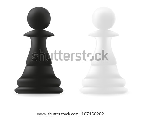 pawn chess piece black and white vector illustration