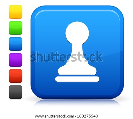 Pawn Icon on Square Internet Button Collection - stock vector