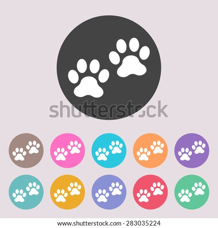 Paws icon. Set of colored icons. - stock vector