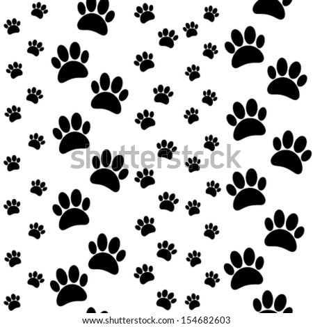 paws seamless pattern black, white