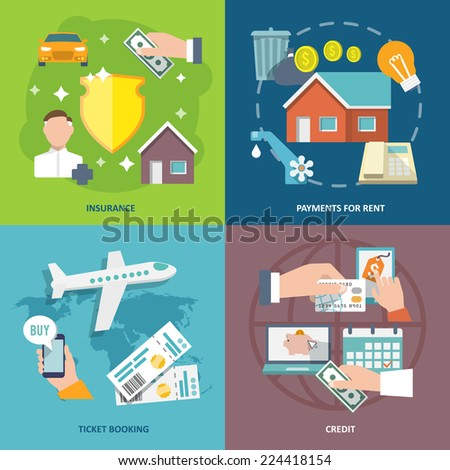 Pay bill insurance rent payments ticket booking credit flat icons set isolated vector illustration - stock vector