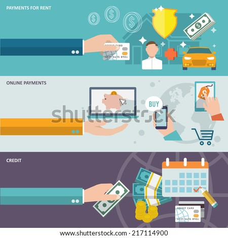 Pay bill payments for rent online credit banner icons set isolated vector illustration - stock vector