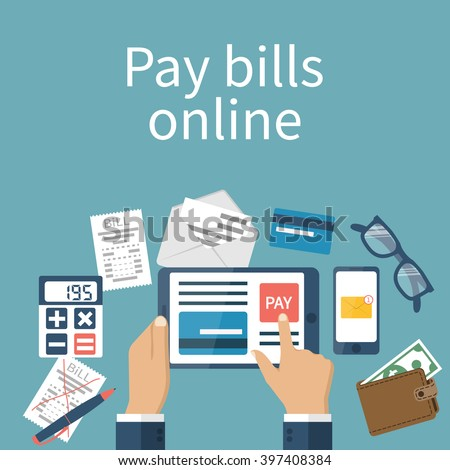 Pay bills online. Online payment concept. Flat design style vector illustration. Credit card, digital tablet, bill. Man pays the bills on the Internet.