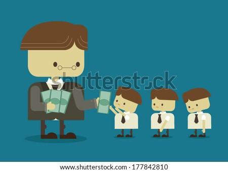 pay each employee - stock vector