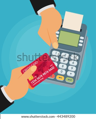 pay merchant hands credit card flat vector illustration payment - stock vector