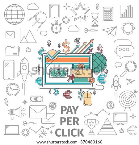 Pay per click. Business internet concept. Flat line art digital vector illustration. - stock vector