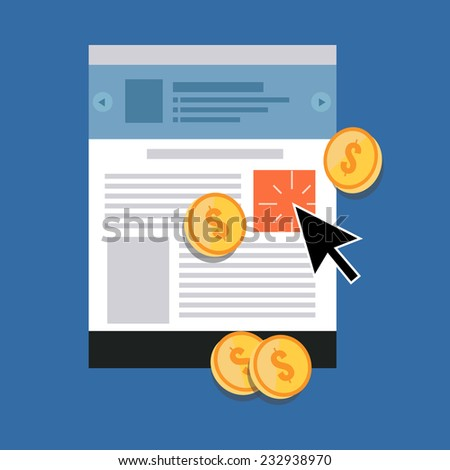 Pay Per Click concept. Flat design stylish. Isolated on color background - stock vector