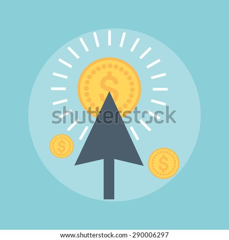 Pay Per Click flat style, colorful, vector icon for info graphics, websites, mobile and print media.