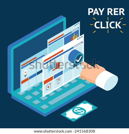 Pay per click, infographics illustration. Touch your finger to the screen of a laptop - stock vector