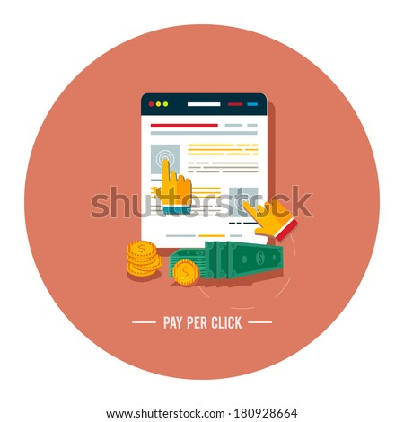 Pay per click internet advertising model when the ad is clicked. Modern flat design - stock vector