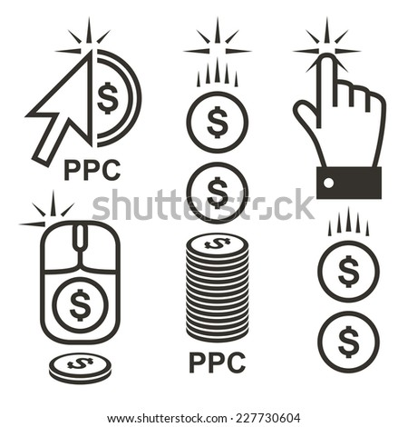 Pay per click internet advertising with dollar signs. Conceptual PPC logo vector illustration made with cursor arrow and coin icons. - stock vector