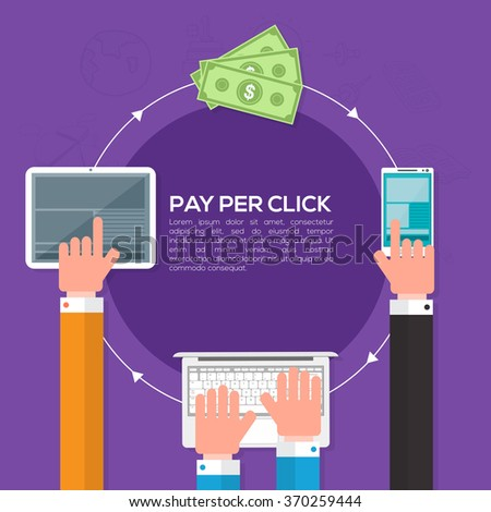 Pay per click, Online web marketing Business concept with illustration of people working on digital devices. - stock vector