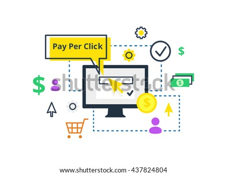 Pay per click vector illustration. Internet marketing, advertising concept in line and flat style. - stock vector