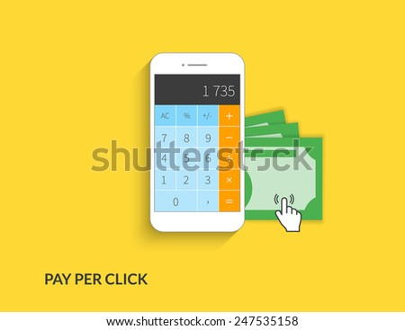 Pay per click. Vector illustration of calculating money using smartphone on yellow background - stock vector