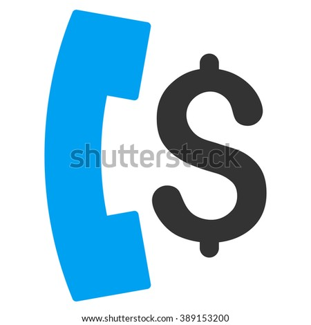 Pay Phone Call vector icon. Style is bicolor flat symbol, blue and gray colors, white background. - stock vector