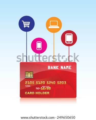 Pay with credit card - stock vector