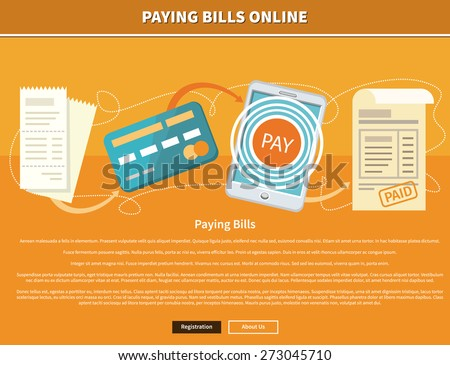 Paying bills payments online credit banner concept with buttons registration and about us. Can be used for web banners, marketing and promotional materials, presentation templates  - stock vector