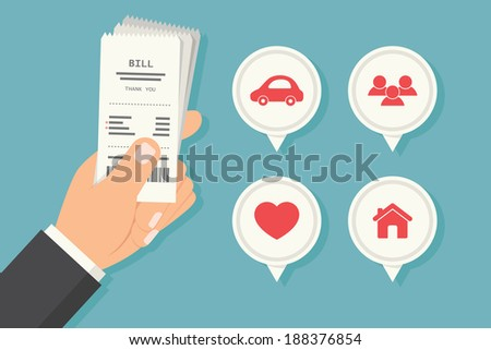 Paying bills, vector - stock vector