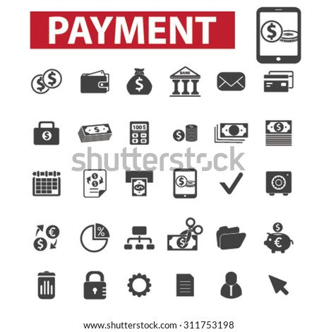 payment black isolated concept icons, illustrations set. Flat design vector for web, infographics, apps, mobile phone servces
