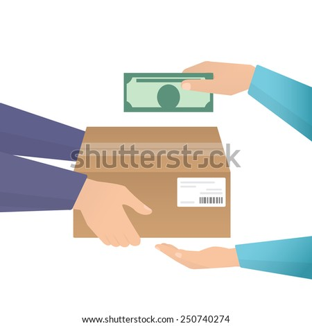 Payment by cash for express delivery. Flat illustration how people deliver package and pay for the delivery by cash. Human hand holds money and pay for the package. Courier get payment for it - stock vector