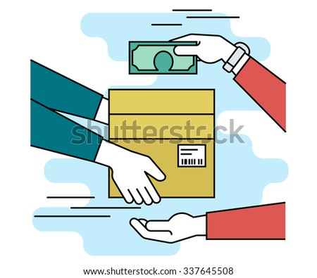 Payment by cash for express delivery. Flat line contour illustration of human hand holds a carton box with barcode and other man giving money to courier for the shipping service - stock vector