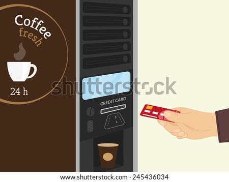 Payment by credit card for coffee at vending machine - stock vector