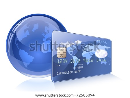 Payment concept. Internet Banking. Credit card with world map. - stock vector