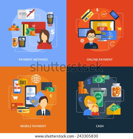 Payment design concept set with online mobile cash methods flat icons isolated vector illustration - stock vector