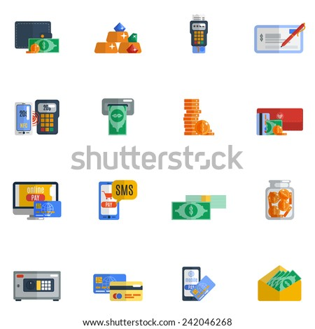 Payment icon flat set with wallet moneybox safe cash isolated vector illustration - stock vector