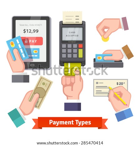 Payment icon set. Human hands holding credit cards, cash, coin, writing check, paying with POS. Flat style vector. - stock vector