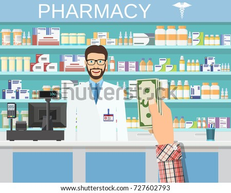 Payment in cash. Interior pharmacy or drugstore with male pharmacist at the counter. Medicine pills capsules bottles vitamins and tablets. vector illustration in flat style