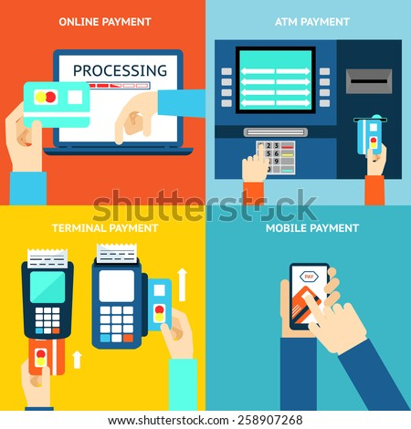 Payment methods. Business and buy, flat design and money. Credit card, cash, mobile app and ATM terminal. Vector illustration - stock vector