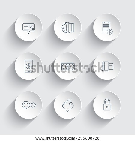 Payment methods, types line modern icons on round 3d shapes, vector illustration, eps10, easy to edit - stock vector