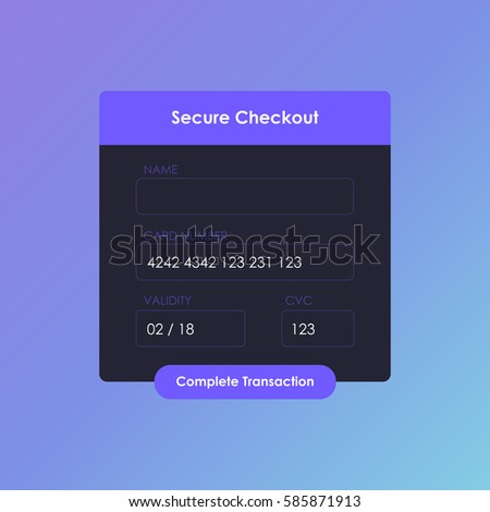 Payment page mockup. Online payment form. Secure checkout. Credit card checkout form. Vector illustration
