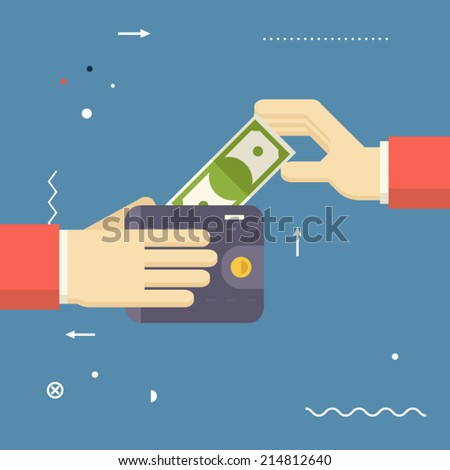 Payment Symbol Human Hands holding Banknote and Wallet on Stylish Background Modern Flat Design Vector Illustration - stock vector