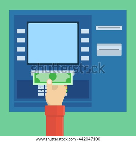 Payment through ATM, withdrawal of money via terminal. Simple, flat style. Graphic vector illustration. - stock vector