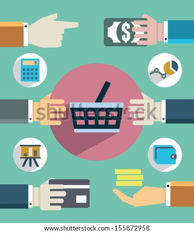 Payments and sales. Flat concept of business with hands - vector  illustration - stock vector