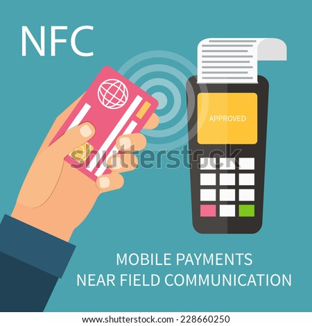 Payments using terminal and debit credit card, near field communication technology, online banking. Flat design vector. - stock vector