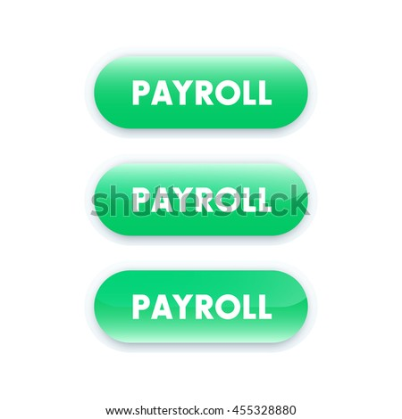 Payroll button for web design, green on white - stock vector
