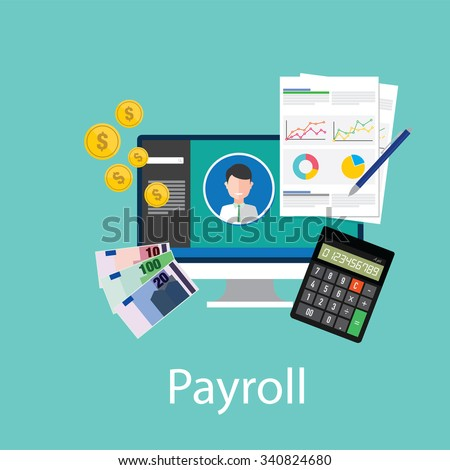payroll salary accounting payment wages money calculator icon symbol vector - stock vector