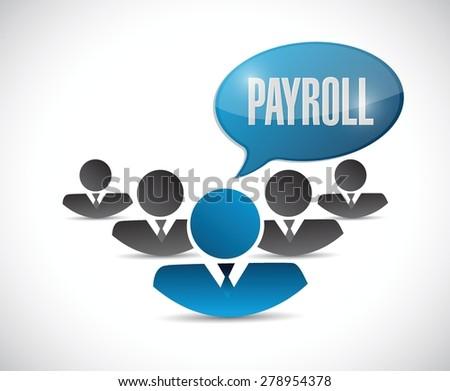 payroll teamwork sign concept illustration design over white - stock vector